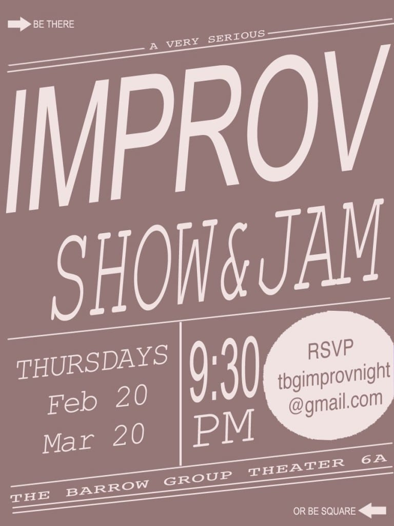 IMPROVTBG 768x1024 TBG Improv Show and Jam