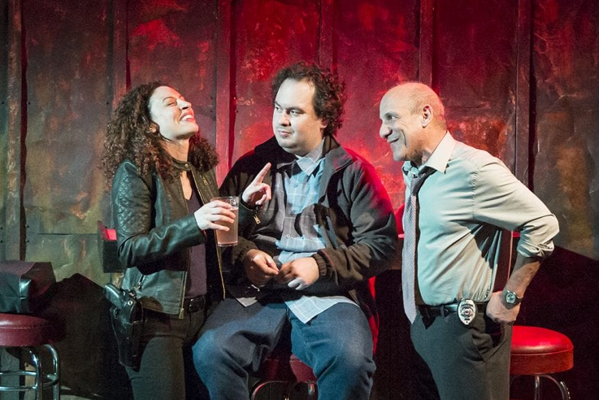 Tricia Alexandro, Ali Arkane, and Paul Ben-Victor. Perp. Photo by Edward T. Morris.